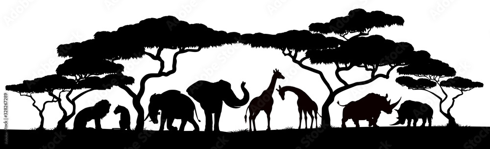 Fototapeta African safari animals and trees in silhouettes scene