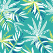 Vector seamless tropical pattern with palm leaves on green background. Colourful floral illustration for textile, print, wallpapers, wrapping.