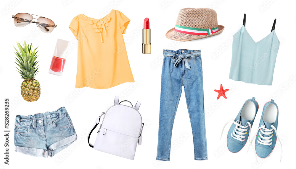 Fototapeta Women's clothes set isolated on white.Summer outfit,young girl clothing collection.