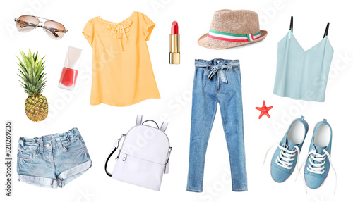 Obraz Women's clothes set isolated on white.Summer outfit,young girl clothing collection. - fototapety do salonu