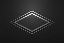 Blank Logo Frame With Modern Style On Black Background. Empty Silver Template For Design Emblem And Diamond Shape. 3D Rendering.
