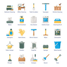 House Cleaning Flat Icons Pack