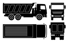 Dump Truck Silhouette On White Background. Vehicle Icons Set View From Side, Front, Back, And Top