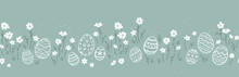 Cute Hand Drawn Easter Eggs Horizontal Seamless Pattern, Fun Easter Decoration, Great For Banners, Wallpapers, Cards - Vector Design