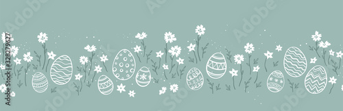 Photo Cute hand drawn easter eggs horizontal seamless pattern, fun easter decoration,