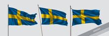 Set Of Sweden Waving Flag On I...
