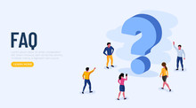 People Characters Standing Near Question Marks. Women And Men Ask Questions And Receive Answers. Online Support Center. Frequently Asked Questions Concept.