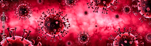 Covid-19 - Coronavirus In Red Background - Virology Concept - 3d Rendering