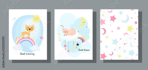 Set of children's cards with a cute cat in a flat design. Baby backgrounds with clouds, stars, moon and kitten.