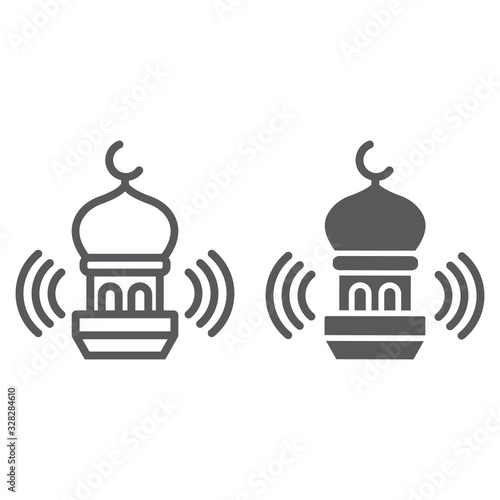 Photo Adhan call line and glyph icon, ramadan and religion, mosque sign, vector graphics, a linear pattern on a white background, eps 10