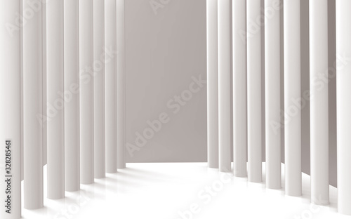 Cuadros en Lienzo 3d mural wallpaper Illustration of 3D crystall  corridor silver background  and