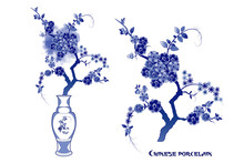 . Blue And  White  Chinese Vase And Flowering Branches. Design Elements On A White Background. Vector Set.