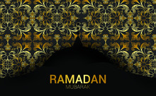 Ramadan Vector Background. Effect Of The Cut Paper With The Embossed Calligraphic Text Of The Ramadan Kareem. Creative Design Greeting Card, Banner, Poster. Traditional Islamic Holy Holiday.