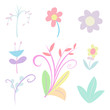 Collection of popular floristic flowers and decorative plants isolated on white background. Set of beautiful floral decorations. Pastel colorful hand drawn vector illustration.