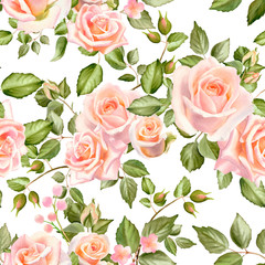 Fototapeta Inspiracje na wiosnę Watercolor floral seamless pattern with rose flowers and green leaves isolated on white background. Hand painted print for textile design and decoration.