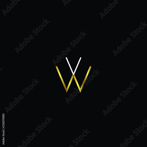 Creative Professional Trendy and Minimal Letter VW Logo Design in Black, Gold an Canvas Print