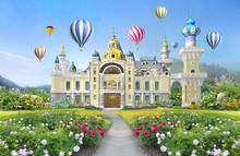 3d Mural Wallpaper  Palace With Garden And Flowers Landscape . Colored Air Balloons In The Sky . Suitable For Childrens Wallpaper