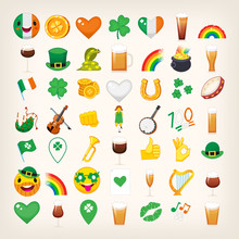 Set Of Emoticons For Saint Pat...