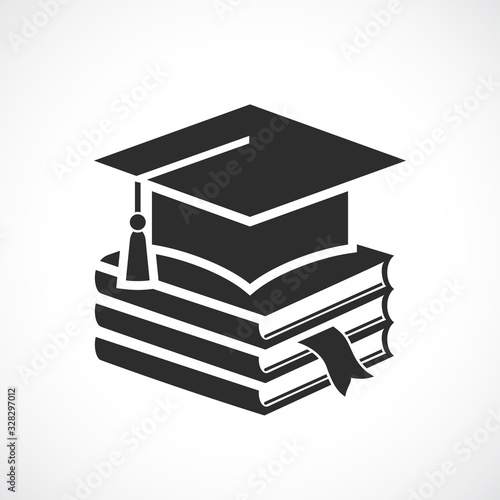 Academic hat and textbooks, graduation icon Wallpaper Mural