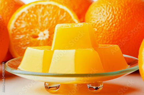 Orange marmalade from agar agar. Healthy vegetarian sweets. Canvas Print