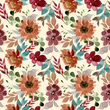 Brown Flower Bloosom Watercolor Seamless Pattern