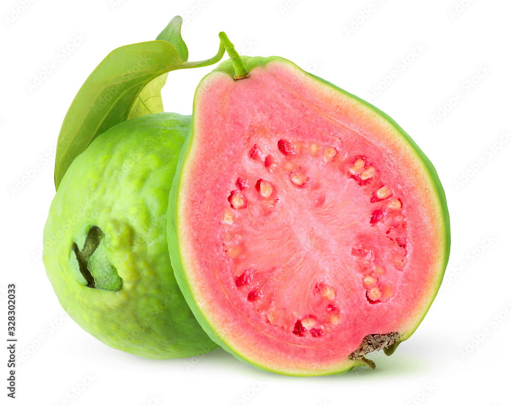 Fototapeta Isolated guavas. Cut guava tropical fruits with green skin and pink flesh isolated on white background