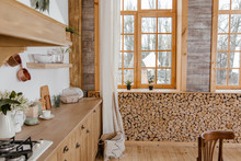 Kitchen Interior. Rustic Style