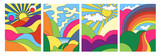 Fototapeta  - Set of four different modern colorful psychedelic landscapes with stylised mountains, rainbow over countryside, sea and hills, colored vector illustration for posters or covers