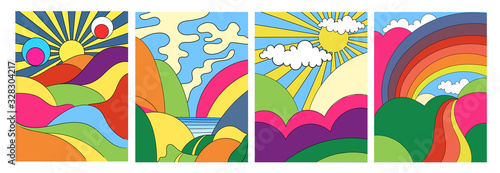 Set of four different modern colorful psychedelic landscapes with stylised mount Fototapet