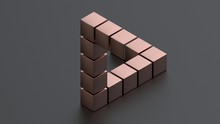 3D Rendering Of An Impossible Triangle Consisting Of Pink Metal Cubes On A Matte Surface. Riddle, Optical Illusion, Isometric Projection..