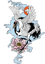 Dancing Crane With Red Sun And Water Lily Flower. Japanese Red Crowned Bird. Tattoo. Isolated Vector Illustration