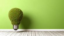 Grassy Light Bulb On Wooden Fl...