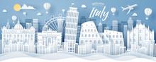 Paper Cut Of Italy Landmark, T...