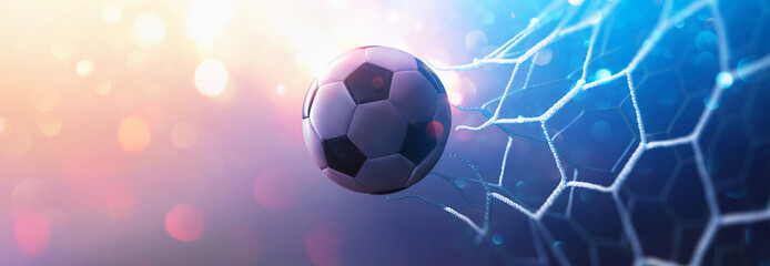 Soccer Ball in Goal. Multicolor Background