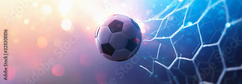 Cuadros en Lienzo Soccer Ball in Goal. Multicolor Background