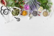Variety Of Herbs And Herbal Mi...
