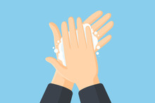 Washing Hands With Soap Vector...