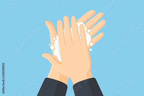 Fototapeta Washing hands with soap vector flat illustration. Hygiene concept obraz