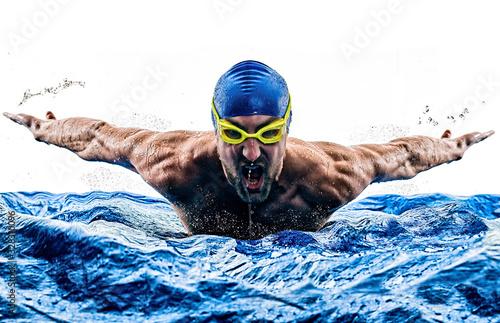 fototapeta na drzwi i meble man sport swimmer swimming isolated white background