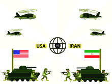 Iran Versus USA War Vector Concept With Infantries And Tanks Shooting Each Other