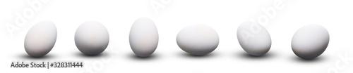 Fototapeta Whole fresh white chicken eggs isolated on a white background. obraz
