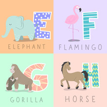 Set Of Animal Illustration And Letters