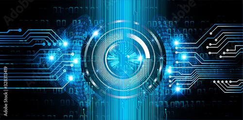 Obraz Blue  eye cyber circuit future technology concept background - fototapety do salonu