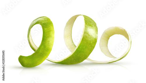 Fotografia, Obraz RW2 peeling green apple on a white background