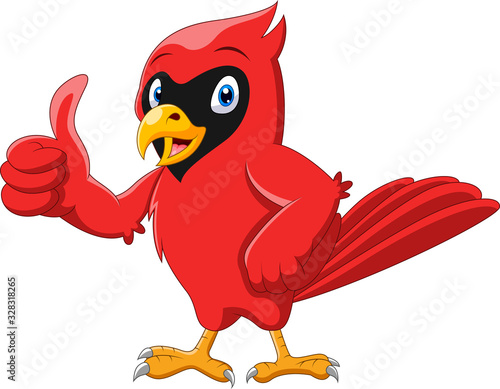 Fototapeta Cute cartoon beautiful cardinal bird thumb