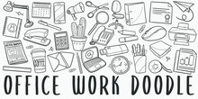 Office Work Doodle Line Art Illustration. Hand Drawn Vector Clip Art. Banner Set Logos.