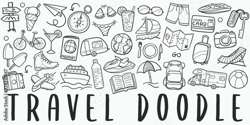 Obraz Time to Travel Doodle Line Art Illustration. Hand Drawn Vector Clip Art. Banner Set Logos. - fototapety do salonu