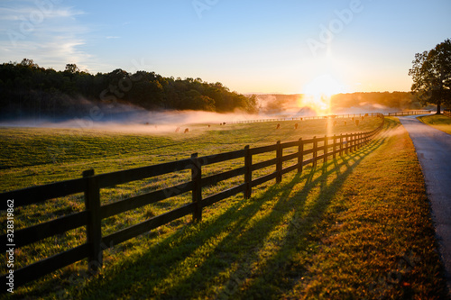Canvas Print Beautiful Color Rural Landscape Nature Photo with Fence and Pathway Road Along F