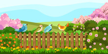 Vector Stock Illustration With Cute Colorful Birds Sitting On The Garden Fence. Spring Rural Backyard With Blooming Trees, Bushes And Flowers. Village Background In Cartoon Style.