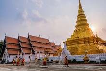 Golden Pagoda Of Wat Phra That Chae Hang Temple, Nan Province, Thailand